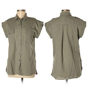 JACHS Girlfriend Linen Blend Safari Shirt XS
